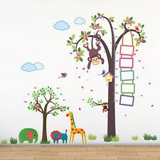 Zoo Measurement Animals Wall Sticker Mural Decoration Nursery, 218cm x 160cm