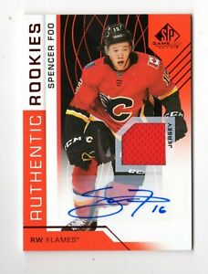 SPENCER FOO NHL 2018-19 SP GAME USED RED AUTO JERSEY (CALGARY FLAMES,KUNLUN )