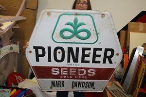 "Large Vintage 1970s Pioneer Seed Corn Farm Mark Davidson 36"" Embossed Metal Sign"