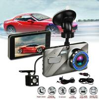 "Dual Lens 4"" Car DVR 1080P FHD Dash Cam Video Recorder Night Vision Camera Suppl"