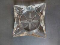 "5.5"" Vintage Clear Glass Ashtray ~ Snowflake design on bottom  Read Description"