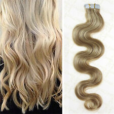 Brazilian Remy Tape-In Real Human Hair Extensions Ombre Blonde body wavy 18inch