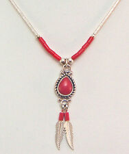 Necklace Pendent Silver 92.5% Liquid Wheeler lsn 079 Red Coral Color NeW