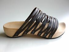 TRIPPEN Germany - Women's Wooden Sandals Slide Clog STRETCH f brown EU40 US9 UK7