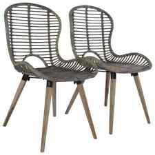 vidaXL 4x Dining Chairs Natural Rattan Brown Kitchen Dinner Furniture Seat