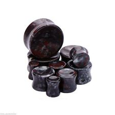 "PAIR-Stone Jade Chicken Blood Concave Double Flare Plugs 14mm/9/16"" Gauge Body J"