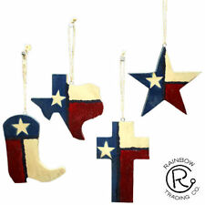 TEXAS STATE FLAG WOOD  CHRISTMAS ORNAMENTS LOT OF 4