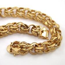 "HEAVY 52grm 14K Yellow Gold Double Figure Eight Chain Link Bracelet 9""  11mm QZ"