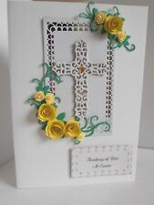 Personalised Handmade Easter/ Confirmation /Sympathy Card Yellow Roses and Cross