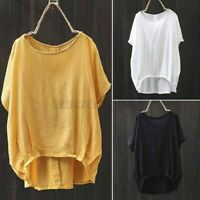 UK Women Oversized Cotton Round Neck Baggy Blouses Ladies Casual Tops T-Shirt