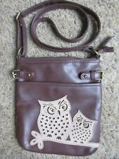 GIRL'S TEEN'S BROWN OWL FAUX LEATHER CROSSBODY PURSE