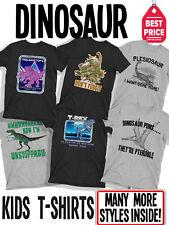 Kids Funny Organic Cotton Retro 80s Dinosaur Slogan T-Shirts For Boys and Girls