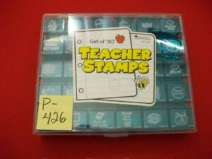 """PREOWNED BARELY USED SET OF 30 """"TEACHER STAMPS"""" -LEARNING RESOURCES #LER 0678"""