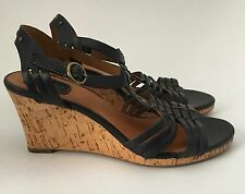 Clarks Black Studded Strappy Cork Wedge Heel Sandals Shoes Size 6 1/2 M