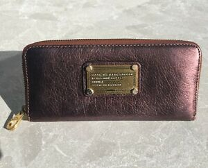 Marc Jacobs leather wallet, warm bronze, easy zipped, multiple card, note, coin