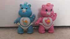 "Original AGC 3"" Bebé Abrazo & Baby Tugs Poseable Care Bear Figuras 1984 Gratis P&P"