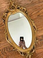"Vtg 60s 1965 MCM Syroco Gold Baroque Ornate Carved Hollywood Regency Mirror 30"""