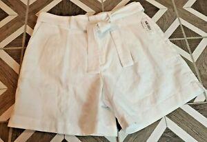 Polo Ralph Lauren Women's Shorts Linen White Sz 10 High Tie Waist Belt Pleated