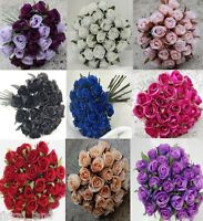 SILK ROSES ROSES PRE MADE FLOWER WEDDING BRIDAL BOUQUET ARTIFICIAL 26 HEADS