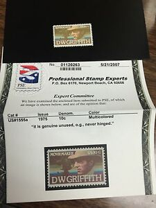 1555a D W Griffith Brown Omitted. Mint Never Hinged. Accompied By A Certificite