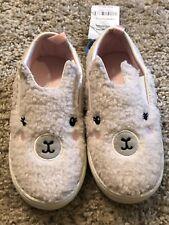 Carter'S Toddler Girls Nwt White Fleece Llama Slip on Deck Shoes 8 Rubber Soled