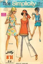 Simplicity # 8259 Sewing Pattern: Miss Mini-Dress Bell-Bottom Pants; Size 12