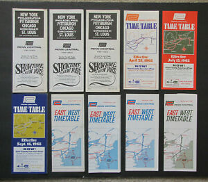 PC PENN CENTRAL Lot of 10 Intercity Timetables: 1968-69