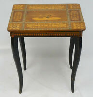 INTRICATE ITALIAN INLAID MARQUETRY TABLE WITH SWISS THORENS MUSIC BOX