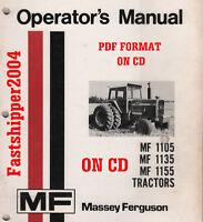 Massey Ferguson 1105 1135 1155 Tractors OP Operator's Operator Manual Owner CD