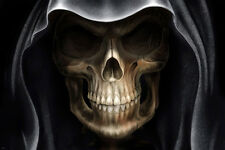DEMON alien skull poster GOTH SCARY wide cheekbones eyes hood COVERED 24x36