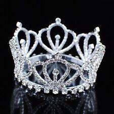 Mini Royal Crown Small Brides Tiara Clear Rhinestone Wedding Prom Birthday Party