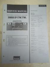 Sansui Service Manual~CP-77W/77WL Boombox Radio System~Original~Repair