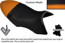 BLACK & ORANGE CUSTOM FITS BUELL XB 12 SS LIGHTNING LONG DUAL LEATHER SEAT COVER