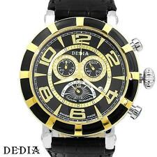 DEDIA D60CXG030, 50mm Chrono Swiss Watch 40, 0.34 ctw Diamonds, Leather Strap