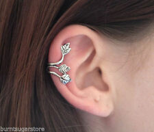 NEW SILVER TRIPLE LEAF HELIX EAR CUFF CLIP ON PUNK GOTHIC BOHO EARRING GIFT UK
