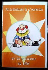"E72) Carte ""Félicitation Naissance Bébé"" Clown + enveloppe - Neuf"