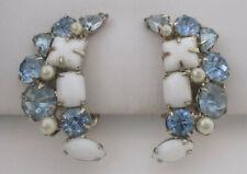 Vintage Blue Rhinestone/Milk Glass Cabochon Earrings