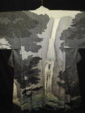 Unused & LUXURY! Silver Gray Silk Japanese KIMONO w/Waterfall, Rakkan B951