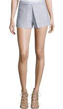 BCBGeneration BCBG Woven Knit Striped Pleated Shorts Navy Blue White 12 / XL NEW