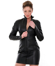 New Genuine leather Dress High Collar Mid Thigh Length Long Sleeves Kink Fetish