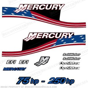 Mercury Custom American Flag Decals, 75,90,115,125,135,140,150,175,200,225,250