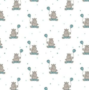 Beautiful Baby Wrapping Paper Sheet,Cute Hippo's Wrapping Paper