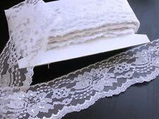 "Raschel Lace 3"" (76mm) White & Metallic Silver Floral 25 Yards"