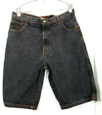 Risk Jeans Co Men's Jean Shorts Black with Orange Trim Size 38