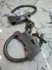 Antique, replica, Heavy duty working hand cuffs with key, circa 1890s?