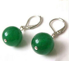 Jade Round Beads 18Kwgp Leverback Earrings On Sale Fashion Hot Sell 10mm Green
