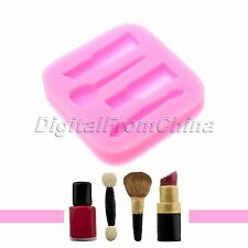 Makeup Lipstick Nail Polish Brush Shape Silicone Fondant Cake Mould Baking DIY
