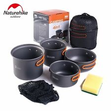 Naturehike 4 in 1 Camping Cookware 2-3 People Bowl Pot Pan Sets OutdoorPortable