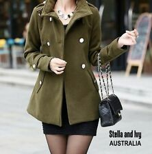 Wool Blend Hand-wash Only Solid Coats & Jackets for Women