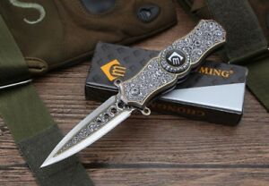 New All Steel Handle Spring Assisted 440 Blade Finger Spin  Folding Knife CM78